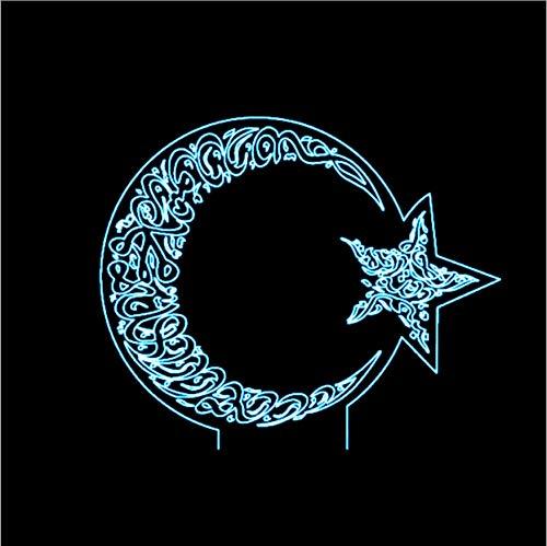 Sterne Mond Modellierung 7 Farbwechsel 3D Visuelle Led Nachtlicht Kinder Touch Flagge Der Türkei Schreibtischlampe Schlafzimmer Dekor Kreative Beleuchtung (Die Türkei Dekor)