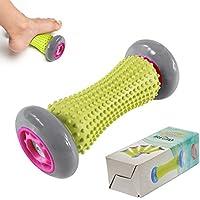 iRegro músculo rodillo de palo, 18 pulgadas cuerpo masaje palos herramientas-músculo rodillo masajeador para alivio muscular dolor, Cramping y tirantez, ayudar a las piernas y volver recuperación, negro verde (Rodillo de masaje)