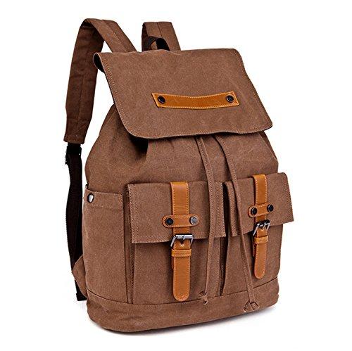 &ZHOU Borsa di tela, Borsa di grande capacità di tela borsa a tracolla zaino multifunzionale casual retrò zainetto unisex alpinismo borse , black coffee color