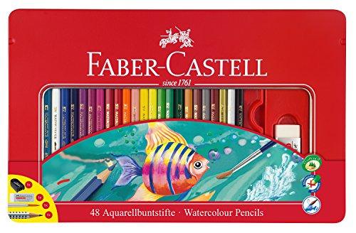 Faber-Castell 115933 – Estuche de metal con 48 lápices de colores acuarelables, lápiz de grafito GRIP 2001, pincel, afilalápices y goma de borrar, multicolor