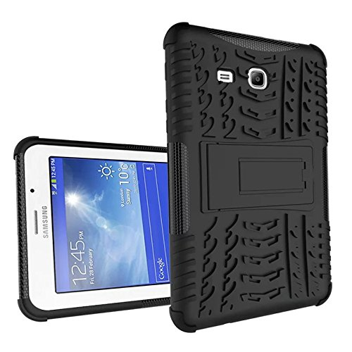 XITODA Compatible with Hülle Samsung Galaxy Tab 3 Lite 7.0, Hybrid PC + TPU Silikon Hülle Mit Stand Schutzhülle für Galaxy Tab 3 Lite 7.0 SM-T110/T111/T113/T116 Case Cover - Schwarz