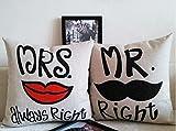 Miya@ mr right mrs always right liebevolle hochwertige Hochzeit Paar Kissenbezüge aus Baumwoll Sofakissen Kissenbezug Hochzeitgeschenk Form09