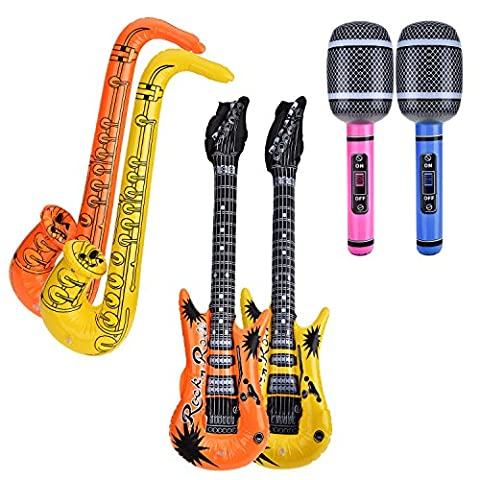 Pangda 6 Piece Inflatable Toys Inflatable Guitar Microphone Saxophone for Party Supplies, Party Favours, Random Color