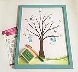 Fingerabdruck Poster Junge inkl. Rahmen und Stempel Gästebuch Hochzeit Geburtstag Erinnerungsbild Fingerabdruckbaum (Junge)