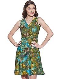 5942adc6021 Sommer gedrucktes beiläufiges kurzes Kleid Baumwolle Damen Sommerkleid  Geschenk für sie