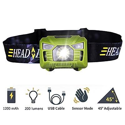 Home-Neat USB wiederaufladbare LED Stirnlampe, Wasserdichter LED Kopflampe mit weißen und roten Lichtern, perfekt zum Laufen, Spaziergehen, Camping, Lesen, Wandern, DIY und mehrin 200 Lumen (inkl. USB Kabel)