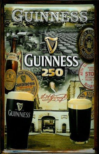 Preisvergleich Produktbild GUINNESS 250 Jahren,  3D Prägung,  Pub-Schild im Vintage-Stil,  Metall 300mm x 200mm (hi)