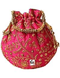 clickforall Women's Ethnic Rajasthani Silk Potli Bag Bridal Purse (Multicolour)