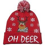 Fiaoen LED Weihnachtsbeleuchtung Strickmütze Mütze Cap mit Mütze Cap Bunt glänzend gestrickte Weihnachtsmützen Multi-Color-Dekorationen Hut