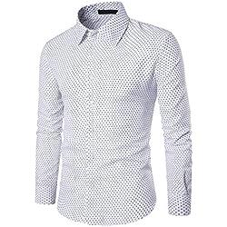 Yvelands Camisa de otoño para Hombres, Hombres Solapa Camisa de Corte Slim Casual otoño Camisa de Moda Blusa Dot Camisa de Manga Larga, ¡Liquidación