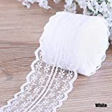 CALISTOUK Beautiful Colorful 4.5CM 10 Yards Retro Embroidered Lace Trim Ribbon DIY Craft Sewing Decor,White