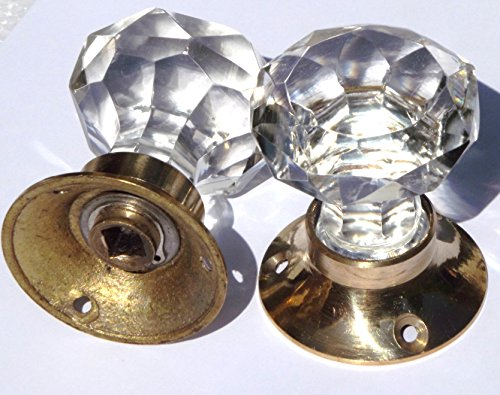 Crystal clear sparkling cut glass doorknobs brass base (one) by Peter Sharpe Sharpe Base