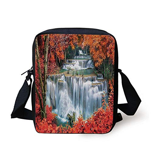 Waterfall Decor,Waterfalls Like Stairs in Forest Hidden in The Botanic Fall Trees,Orange Red and White Print Kids Crossbody Messenger Bag Purse