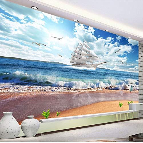 Guyuell Gewohnheit Irgendeine Größe Wandbild Tapete 3D Meerblick Segelboot Landschaft Wandmalerei Wandbild Wohnzimmer Tv Sofa Hintergrund Wandpapier-250Cmx175Cm