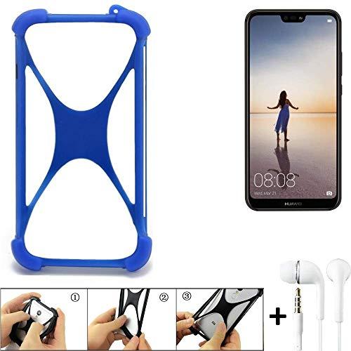 K-S-Trade Handyhülle Huawei P20 Lite Single-SIM Bumper Schutzhülle Silikon Schutz Hülle Cover Case Silikoncase Silikonbumper TPU Softcase Smartphone, Blau (1x), Headphones