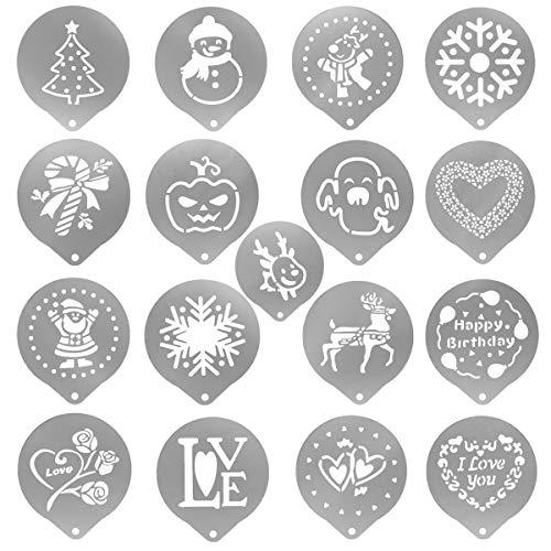 Yocococox Schablonen für Kaffee, zum Dekorieren von Haferflocken, Cupcakes, Cappuccino, heiße Schokolade für Erwachsene, Kinder, Weihnachten, Halloween, Thanksgiving Type-A silber