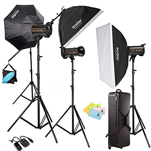 Light-fotografie Flash-strobe (Neewer 3 x qt-600 1800 W HSS + Godox sb-bw 120 cm Softbox Fotostudio Flash Strobe Light Kit Set Recycling Zeit von 0.05 – 1.2S + letwing Digital Gift Kit (3 x qt-600 W))
