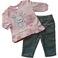 6 – 12 mesi – Baby Girls cute Pink some Bunny Loves You a maniche