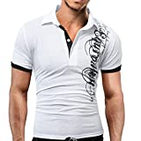 Magiyard Hommes Mode Court Manche Chemisier Hommes Décontractée des Lettres T-Shirt imprimé WH/XL Blanc XL