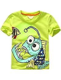 LANDFOX Camiseta de impresión de caracteres de impresión de caracteres de bebés de los niños