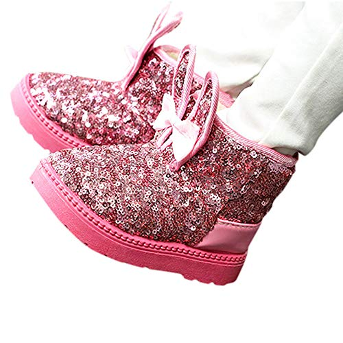 Bild von cinnamou - Kleinkind Baby Mädchen Warm Weiche Sohlen Krippe Schuhe Stiefel Winterstiefel,Kaninchen Ohr Pailletten Schnee Stiefel Schuhe