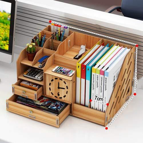 Txdike lan portapenne in legno da scrivania, portadocumenti con ripiani regolabili da scrivania, telefono cellulare, caricatore, staffa per telecomando,bsection
