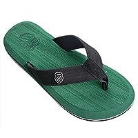 Vervie Man Slippers Flip Flop Sandals Beach Flat Anti-slip Slipper (39, Green)