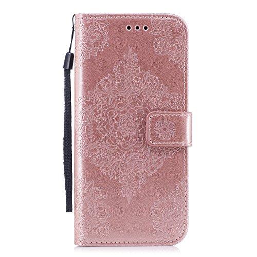 Funda Samsung Galaxy S8 Plus, Ecoway Patrón de porcelana Oro rosa y blanca Función Stand PU Fundas protectoras con tarjeta Slot Holder Carpeta de diseño de libro Desmontable correa de mano Función de Soporte Billetera con Tapa para Tarjetas Carcasa Para Samsung Galaxy S8 Plus - Oro rosa