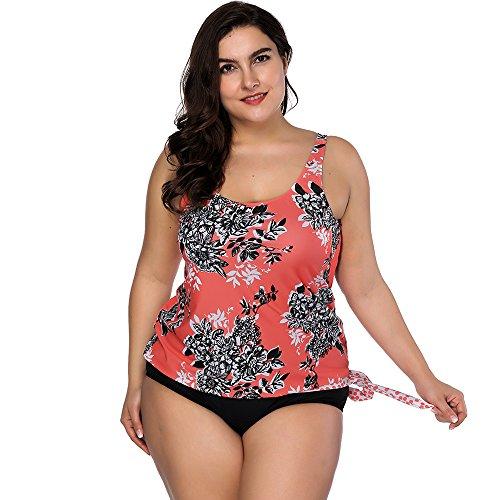 Bademode Dasongff Frauen High Waist Badeanzug Bauchweg Bademode Print Flower Beach Bikini Set Tankini Oberteile Top Plus Size XXL Orange (Baumwoll-print-bikini)