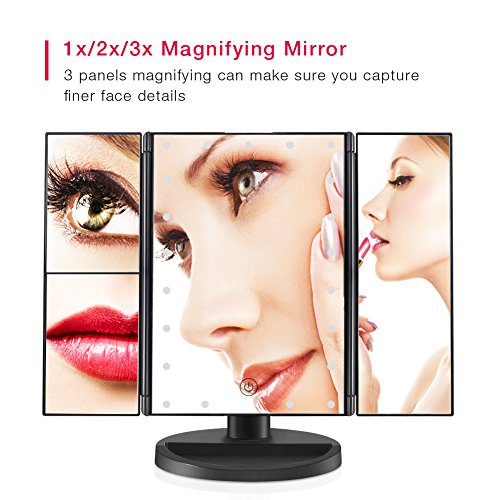 Espejo de vanidad CocoBear Makeup con aumento de 3x/2x, Espejo Triple con 21 Luces LED, Pantalla Táctil, Rotación Ajustable de 180°, Fuente de Alimentación Doble, Espejo Cosmético en la Encimera