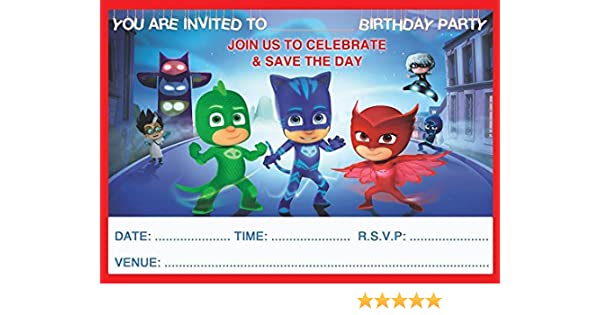 PJ MASKS CHILDRENS BIRTHDAY PARTY INVITES INVITATIONS X 20 PACK WITH ENVELOPES Amazoncouk Toys Games