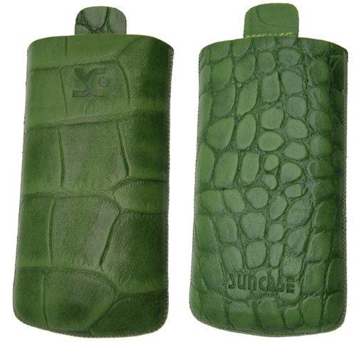 Original Suncase® Tasche für / Samsung Wave S8500 / Leder Etui Handytasche Ledertasche Schutzhülle Case Hülle (mit Zieh-Lasche) in croco-grün