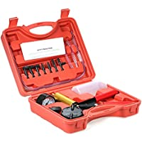 KKmoon 2 en 1 Kit de probador de compresión 7pcs profesional de mano Bomba de presión de vacío freno sangrado adaptador probador de depósito de líquido