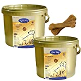 2 x 1 kg Lyra Dog Senior im Eimer Premium Hundefutter für ältere Hunde + 2 Knochen