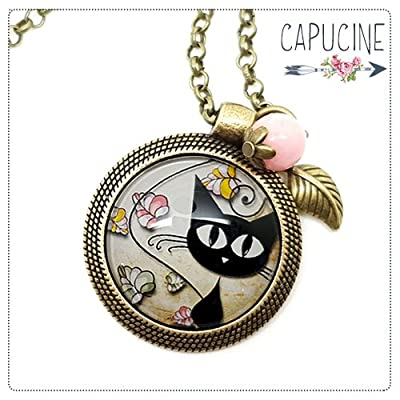 Sautoir bronze avec cabochon verre petit chat noir - Long collier rétro chaton - Chats à l'affût - Idée cadeau anniversaire, cadeau pour femme, cadeau de Saint Valentin, cadeau de noël