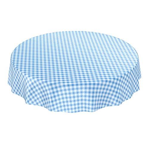 ANRO Wachstuchtischdecke Wachstuch Wachstischdecke Tischdecke Wachstuchdecke Karo Kariert Blau Rund 140cm (Karierte Tischdecke, Kunststoff Blau)
