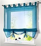 SIMPVALE Raffrollo mit Schlaufen Gardinen Voile römischen Liter Fall Schatten Transparent Vorhang für Balkon und Küche, Blau, 140cm (Breite) x155cm (Höhe)