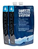 SAWYER Squeeze Wasserfilter 2er Set Faltbare Trinkbeutel, Blau, 64 oz, SP114