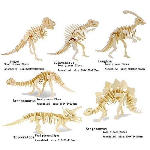 Adornlife 6 Stück Set 3D Hölzernes Tier Puzzle T-rex, Spinosaurus, Longhom, Brontosaurus, Tricerotops, Stegosaurus 3D DIY Montage Modell Spielzeug für Kinder und Erwachsene (3d-puzzles Für Kinder)