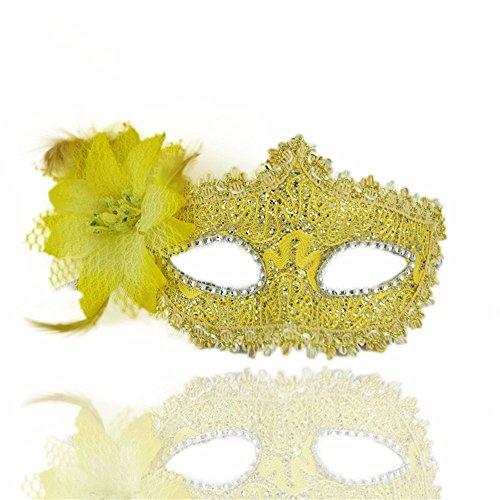 ParttYMask Maskerade,Halloween Maske Make-up Tanz Seite mit Blume Stoffmaske gelb Masquerade