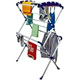 Parasnath Ppcp Robert Drying Foldable Cloth Stand (109 X 114 X 20 cm, White & Blue)