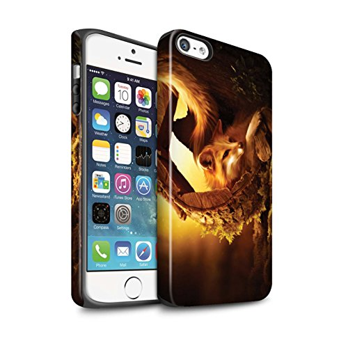Officiel Elena Dudina Coque / Matte Robuste Antichoc Etui pour Apple iPhone SE / Le Brave/Chaton Design / Les Animaux Collection Jacinthe