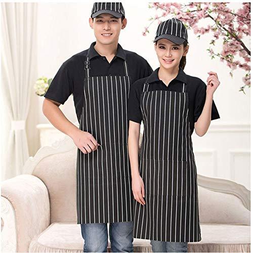 GYJWSBAW Küchen-Unisex-Schürzen Einstellbare schwarz gestreifte Latzschürze mit 2 Taschen Chef Kitchen Cook Tool für Mann, Frau -