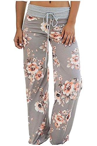 Zaywind Damen Blumenmuster Hosen Locker Weite Bein Lange Hose Gamaschen Freizeithose Grau