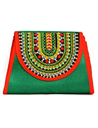 Art Godaam Hand Stiched Cotton Embroidery Clutch - B07CNXZ9RP