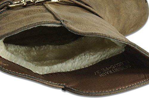 Schuhtraum Damen Schlupfstiefel Stiefeletten Stiefel Boots Gefüttert ST535 Braun warm gefüttert