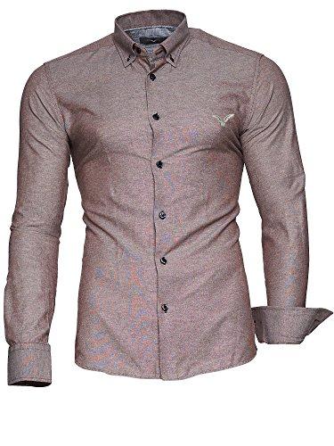 Kayhan Herren Hemd Modell Oxford Slim Fit Bügelleicht, Super Modern, Super Qualität Braun