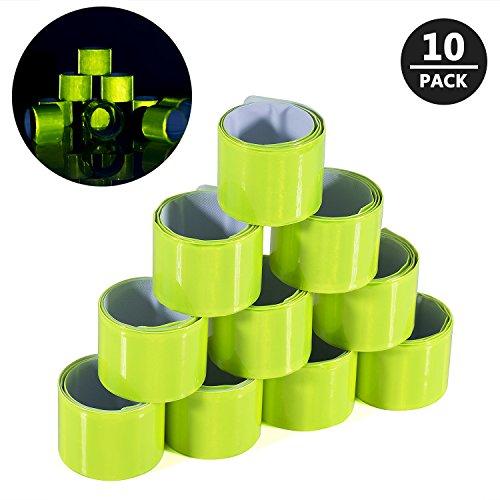 Meersee Schnapparmband Reflektierend, 10 Stück Reflektorbänder Klatscharmband Reflektierend Sicherheitsband für Laufen, Joggen (Slap Wrap)