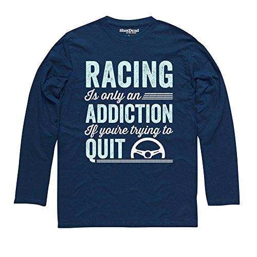 Driving Addiction Langarmshirt Funny Novelty Gift, Herren Dunkelblau