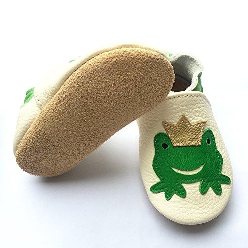 Freefisher Lauflernschuhe, Krabbelschuhe, Babyschuhe - in vielen Designs Karo Blau,6-12 Monate Grün Frosch mit Kaiserkrone auf Weiß